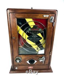 Antique Allwin Supreme Flip Ball / Pinball Arcade Penny Machine Game / Art Deco