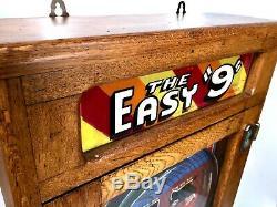 Antique Oak The Easy 9 Flip Ball / Pinball Arcade Penny Machine Game / Allwin
