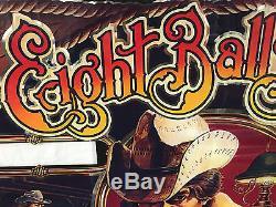 Bally Eight Ball Deluxe Pinball Machine Game Backglass Original not Repro