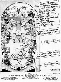 Bally Expressway Pinball Machine 1971 Rare / Retro
