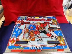 Original 1977 Bally Bobby Orr Power Play back glass for Bally pinball machine