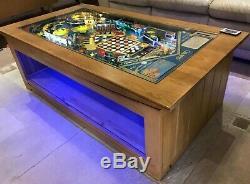 Pinball Machine Coffee Table Oak Bally 1981'Mr. & Mrs. Pac-Man' PlayField