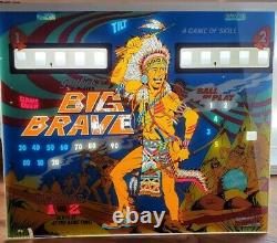 Rare Vintage 1973 Gottlieb Big Brave Pinball Machine Lightbox Backglass Only