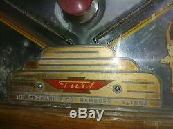 Turf Derby Pinball, 1950s, Very Rare. Horse racing theme, wood rail