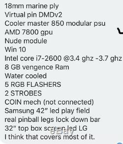Virtual Pinball Machine Real DMD, 5 RGB, FLASHERS, 2 STROBES, Nudge Module