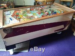 Williams Club House 1958 Woodrail Pin Ball converted coffee table 50s