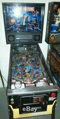 Williams JOHNNY MNEMONIC arcade pinball. Plays well BUT DATA GLOVE ISSUE