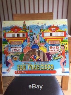 Williams San Francisco 2 player pinball back glass backflash circa 1964